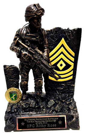 "12"" tall bronzetone warrior military statue, Army medallion can be substituted with another service medallion.  Statue can be customized with map of Iraq or Afghanistan.  Rank insignia is shown for example only.  Customer can mount them if required or mail the insignias to us for mounting. US Army First Sergeant insignia is shown.   Unit coins are not included."
