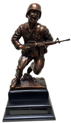 "Soldier Charging Military Statue mounted on a 6-1/2"" wide x 6-1/2"" long x 2-1/2"" tall black base."