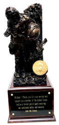 "Awesome military statue of a service member carrying a wounded warrior mounted on a walnut laminated base 6-1/2""W x 6-1/2""D x 5""H.  Total height is 15-1/2"".  The warrior ethos is shown on the back wall.  Army medallion can be replaced with another service medallion or a unit coin can be mounted instead."