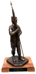 """22"""" TALL ARMY FIRST SERGEANT STATUE MALE WEARING PATROL CAP MOUNTED ON  A 8"""" X 11"""" LAMINATED WOOD BASE."""