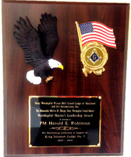 """Laminated Cherry Plaque 12"""" x 15"""" with resin eagle, American Flag Holder with Mason Insert. Mason insert can be substituted with a service medallion.  ie: Army, Air Force, Navy, Marine or Coast Guard."""