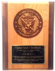 "Plaque two tone genuine alder 9"" x 12"" USMC Cyber Command"