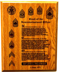 Awesome Military plaque of the Army's Noncommissioned Officer Creed.  Laser engraved at 600 dpi for superb output.
