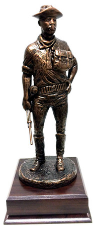 """15-1/2"""" tall buffalo soldier standing bronze tone military statue mounted on a 6-1/2"""" long x 6-1/2"""" wide x 2"""" high cherry laminated base."""
