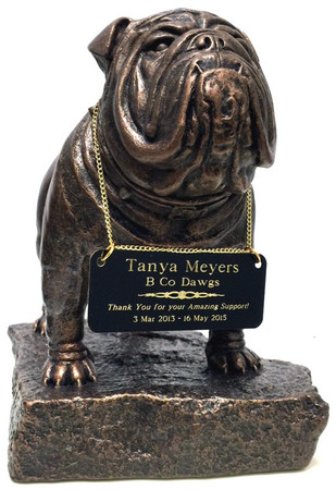 "9-1/2"" tall Bulldog military statue on base.  Engraving plate is 4"" wide x 1.5"" high."