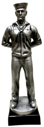 """15"""" tall Navy Sailor military statue mounted on black base.  Great artistic detail on this product. Engraving area is 3-7/8 inches wide by 1.0 inch high."""