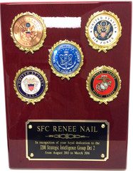 "Military plaque with 5 logos, 9"" x 12"" rosewood piano finish.  Specify required logos and their placement."