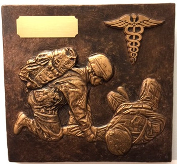 Military statue soldier medic male wall plate with caduceus emblem.