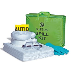 """Content List:   20 White HeavyWeight Oil-Only Defender Pads, 2 White Oil-Only Sorbent Socks, 1 Pair Nitrile Gloves,  1 Pair Safety Goggles, 2 Yellow Temporary Disposal Bags & Ties &  1 Green Vinyl """"SpillTech Spill Kit"""" Tote Bag with hook-and-loop closure"""