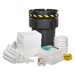 """Contents List:      150 White HeavyWeight Oil-Only AirLaid Pads – 15"""" x 19"""",  12 White Oil-Only Sorbent Socks – 3"""" x 4',  6 White Oil-Only Sorbent Socks – 3"""" x 8',  7 White Oil-Only Sorbent Pillows – 18"""" x 18"""",  3 Tubs Plug & Dike Epoxy – 1 lb,  2 Pair Nitrile Gloves – One Size,  1 Pair Safety Goggles - One Size,  4 Yellow Temporary Disposal Bags & Ties – 30"""" x 6"""" x 60"""",  1 Emergency Response Guidebook – One Size,  6 Tamper Proof Seals – 6"""" x 2"""",  1 Vinyl Spill Kit Label – 3"""" x 5"""",  1 Black 95 Gallon OverPack with screw top lid – 32.25"""" dia. x 41.5"""" H"""