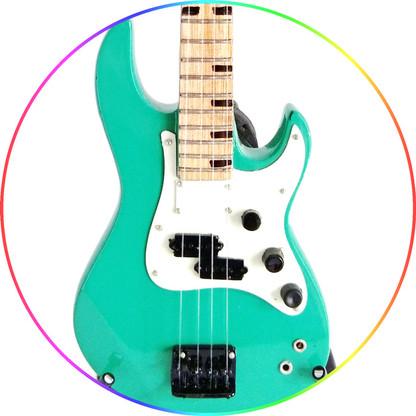 Billy Sheehan Miniature Bass Guitar Collectible Mr.Big Attitude Green Bass