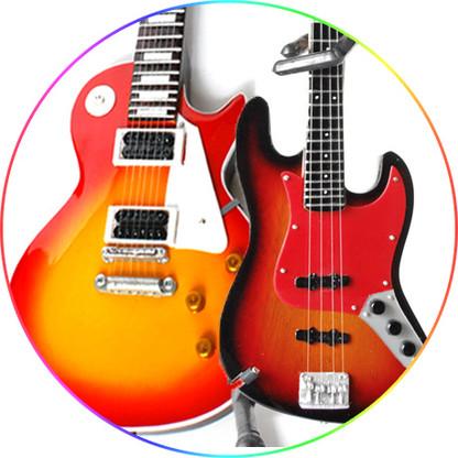 I love Zeppelin Miniature Guitar Replica Collectible Set of 2 Sunburst Classic and John Paul Jones '62 Vintage Bass