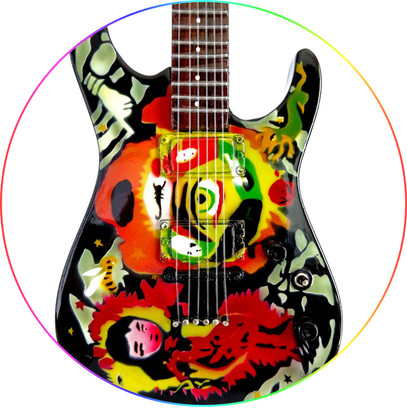 Cult Theme One Eye KH Metal Miniature Guitar Art Collectible Kirk Hammett Metallica