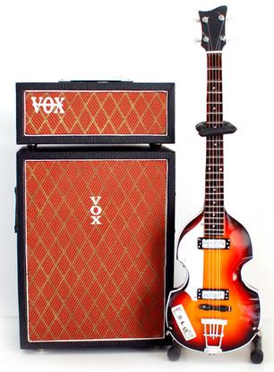 The Beatles Paul McCartney Hofner Bass and Vox Bass Amp Miniature guitar