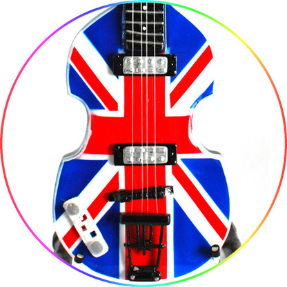 Paul McCartney Beatles Miniature Union Jack Hofner Jubilee Bass Guitar Collectible
