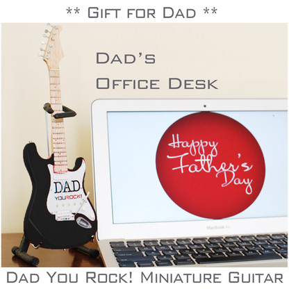 DAD You Rock ! Special Gift for Father's Day Miniature Guitar Black