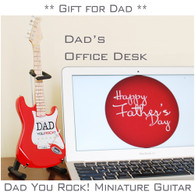 DAD You Rock ! Special Gift for Father's Day Miniature Guitar Red