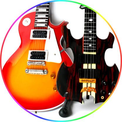 I love Zeppelin Miniature Guitar Replica Collectible Set of 2 Sunburst Classic and John Paul Jones Feature Alem Bass