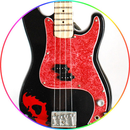 Pete Wentz Fall out Boy Bass Signature Miniature Guitar Collectible