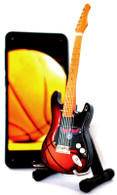 "NBA Theme Atlanta Hawks Rocks 6"" Super Mini Miniature Guitar with Magnet and Stand"