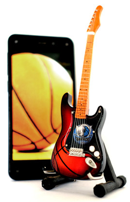 "NBA Theme Dallas Mavericks Rocks 6"" Super Mini Miniature Guitar with Magnet and Stand"