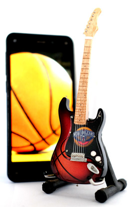 "NBA Theme New Orleans Pelicans Rocks 6"" Super Mini Miniature Guitar with Magnet and Stand"
