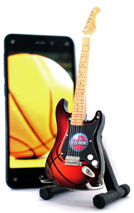 "NBA Theme Detroit Pistons Rocks 6"" Super Mini Miniature Guitar with Magnet and Stand"