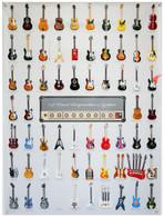 "Visual Compendium of Guitar 3D Poster with 63 pcs of 4"" Miniature Guitars Set"