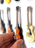 "Rock and Roll History V19 Paul McCartney The Beatles Hofner Bass 4"" Miniature Guitars with Magnet Visual Compendium of Guitar"