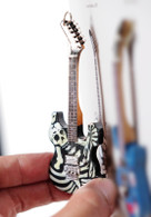 "Rock and Roll History V55 George Lynch Dokken J Frog Skull N' Bones 4"" Miniature Guitar with Magnet Visual Compendium of Guitar"