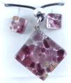 Light Purple Silver Murano Glass Necklace & Earrings Jewelry Set SKU 3xMG