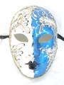 Blue Volto Night and Day Venetian Masquerade Mask SKU 428ndbl