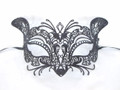 Black Glitter Cat Metallo Laser Cut Metal Venetian Masquerade Mask SKU 015Z