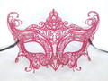 Red Glitter Laser Cut Venetian Masquerade Mask SKU 014Z
