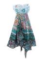 Mistero Venezia Green Blue Flower Designer Italian Cotton Silk Scarf SKU 961grbl