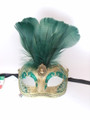 Dark Green Gold Ciuffo Corto Star Feather Venetian MasqueradeMask SKU 267cdgg
