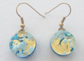 Light Blue Gold Circle Murano Glass Venetian Earrings Jewelry SKU 35MG