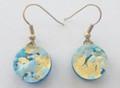 Light Blue Gold Circle Murano Glass Venetian Earrings Jewelry SKU 35MG