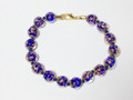 Dark Blue Clear Gold Murano Glass Bead Venetian Bracelet Jewelry SKU 38MG
