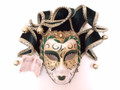 Green Gold Miniature Jolly Franca Venetian Decorative Mask SKU P100-3