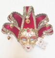 Red Jollini Miniature Ceramic Venetian Mask SKU P124