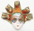Orange Gold Jollini Brocade Miniature Ceramic Venetian Mask SKU P124