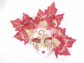 Red Miniature Ceramic Foglie Venetian Mask  SKU P135r