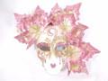Pink Miniature Ceramic Foglie Venetian Mask  SKU P135pi