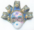 Light Blue Brocade Jollini Miniature Ceramic Venetian Mask SKU P124