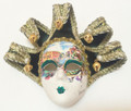 Green Gold Jollini Miniature Ceramic Venetian Mask SKU P124