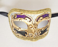 Purple Black Colombina Kre Venetian Masquerade Mask SKU 10