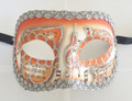 Orange Colombina Pergamena/Silver Trim Venetian Mask SKU 026