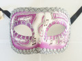 Purple Colombina Pergamena/Silver Trim Venetian Mask SKU 026