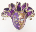 Purple & Gold Venetian Lillo Masquerade Mask SKU 291pug